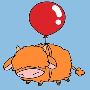 Red Balloon Highland Cow by SaradaBoru