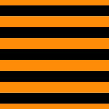 Dark Pumpkin Orange and Black Halloween Cabana Stripes by Creepyhollow