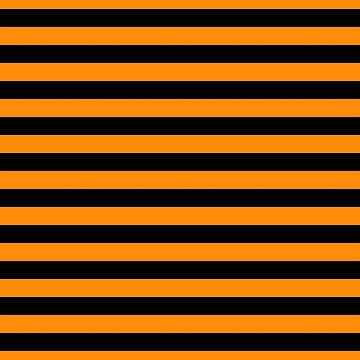 Dark Pumpkin Orange and Black Halloween Beach Hut Stripes by Creepyhollow