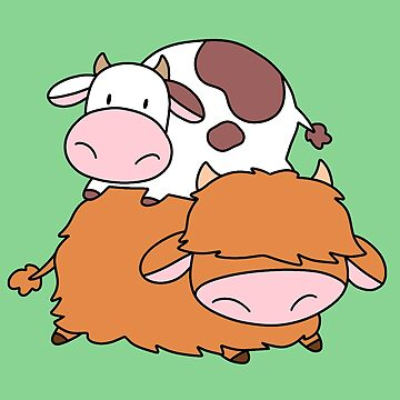 Highland Cow and Little Spotted Cow by SaradaBoru