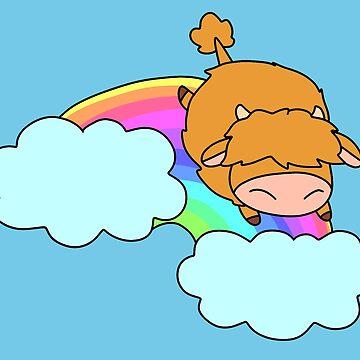Rainbow Cloud Highland Cow by SaradaBoru