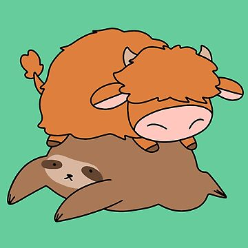 Sloth and Little Highland Cow by SaradaBoru