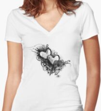 Two hearts Women's Fitted V-Neck T-Shirt