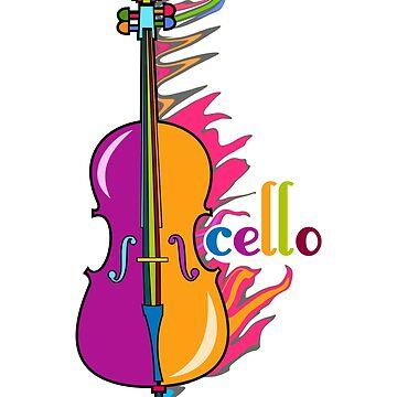 Fun, Colorful Cello by evisionarts