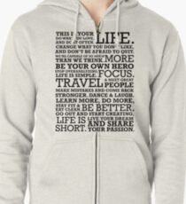 Motivational Manifesto Zipped Hoodie