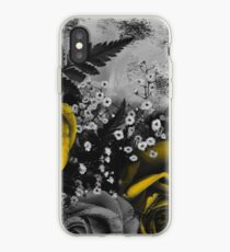 Dark Florals with Bright Yellow Rose Accents iPhone Case