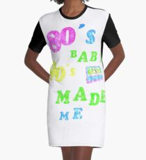 80s 90s RETRO FASHION SKATEN CASSETTE BACK Graphic T-Shirt Dress
