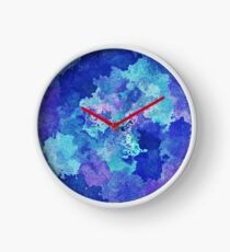 Sandy Watercolor Abstract Blues  Clock