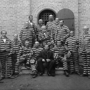 Vintage Prisoners In Striped Uniforms - 1889  by warishellstore