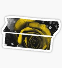 Dark Florals with Bright Yellow Rose Accents Sticker