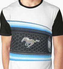 Blue Mustang Grill Emblem Graphic T-Shirt