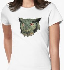 Owl - Red Eyes Women's Fitted T-Shirt