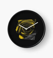 Dark Florals with Bright Yellow Rose Accents Clock