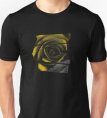 Dark Florals with Bright Yellow Rose Accents Unisex T-Shirt
