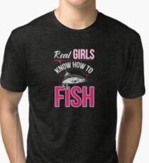 Real Girls Fish Cute Fishing Fisherwoman Angler  Tri-blend T-Shirt