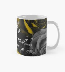 Dark Florals with Bright Yellow Rose Accents Mug