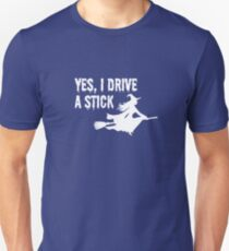 (tshirt) Yes I Drive A Stick (white fill) Unisex T-Shirt