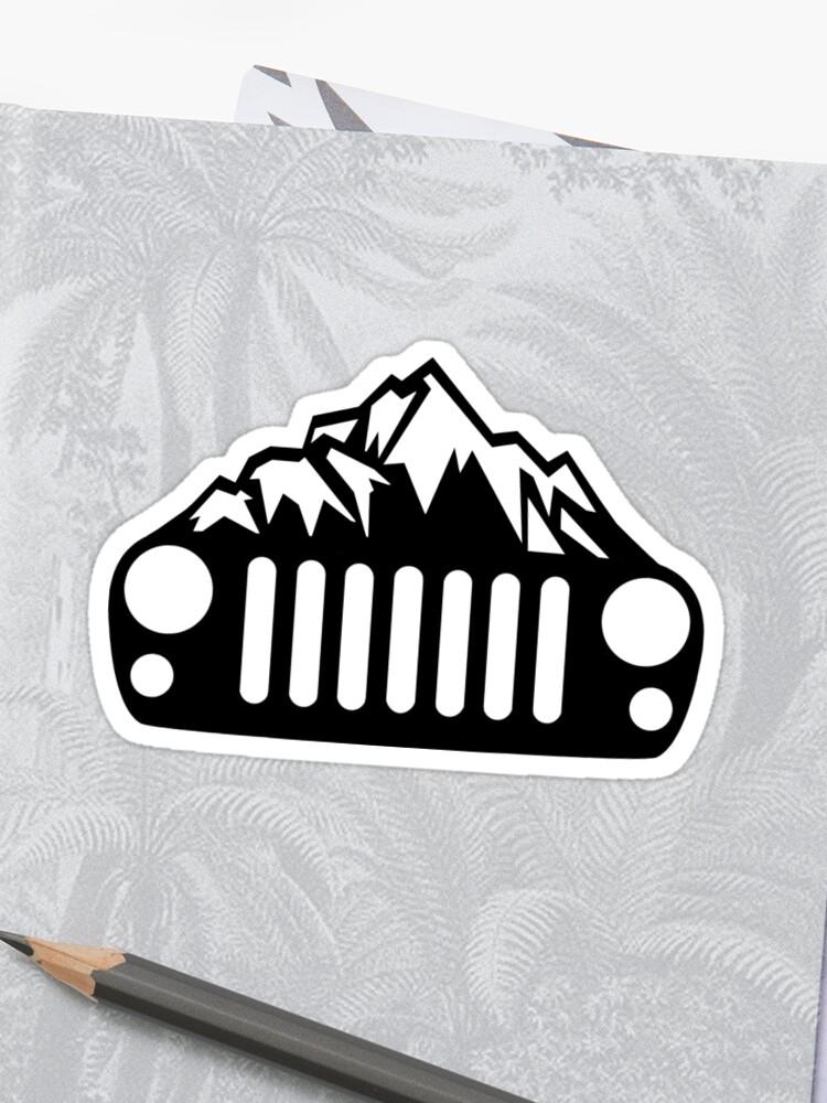Jeep Wrangler Jkjku Mountain Grill Stickers By Tylervoth Redbubble