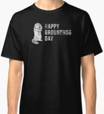 Awesome Happy Groundhog Day with Groundhog Silhouette Classic T-Shirt