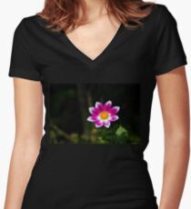 Vivid Flower Fitted V-Neck T-Shirt