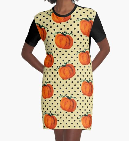 Pop Art Cascading Pumpkins Graphic T-Shirt Dress