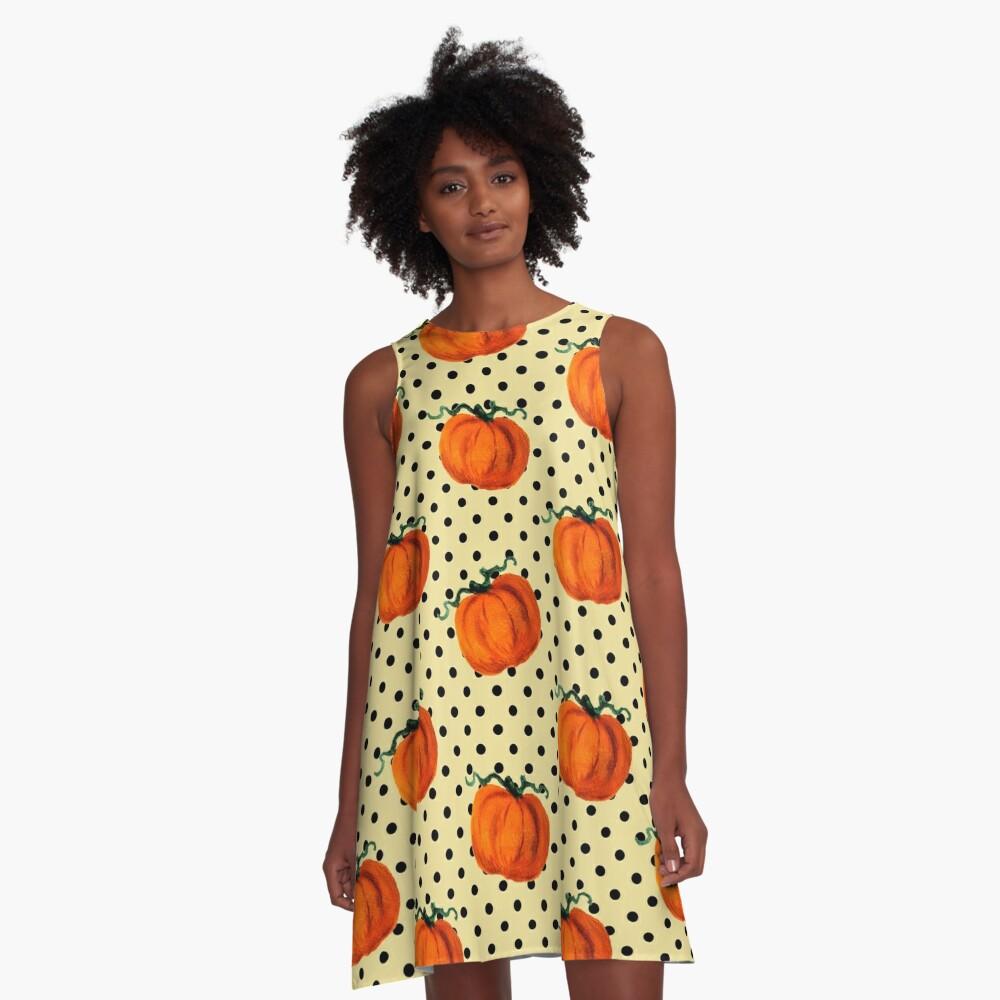 Pop Art Cascading Pumpkins A-Line Dress