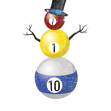 Ditressed Pool Ball Snowman Billiards by KanigMarketplac