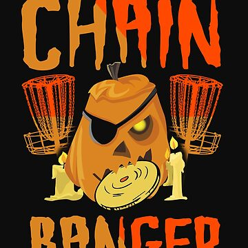 Disc Golf Funny Halloween Pumpkin Chain Banger Scary by normaltshirts