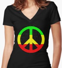 Rasta Peace Sign Women's Fitted V-Neck T-Shirt