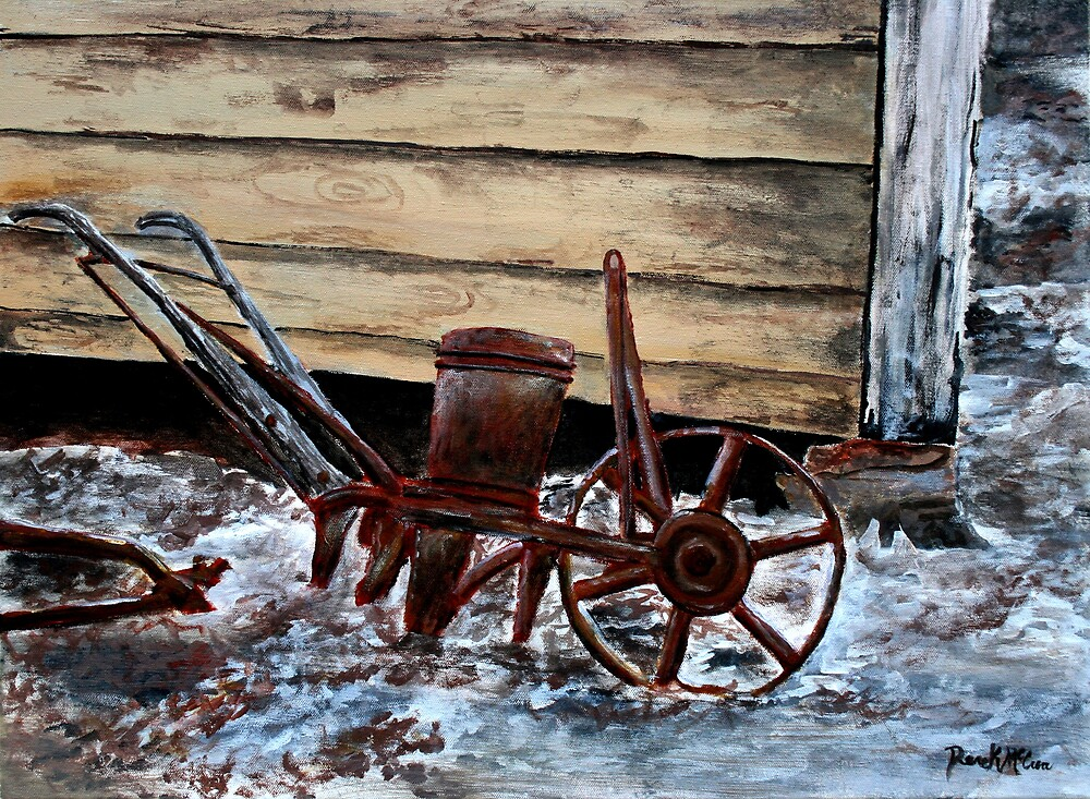 antique oil tools old farm plow seeder oil painting by derekmccrea redbubble