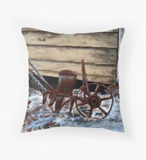 old farm plow seeder oil painting Throw Pillow