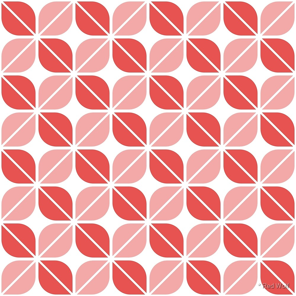 Geometric Pattern: Leaf: Red/White by * Red Wolf