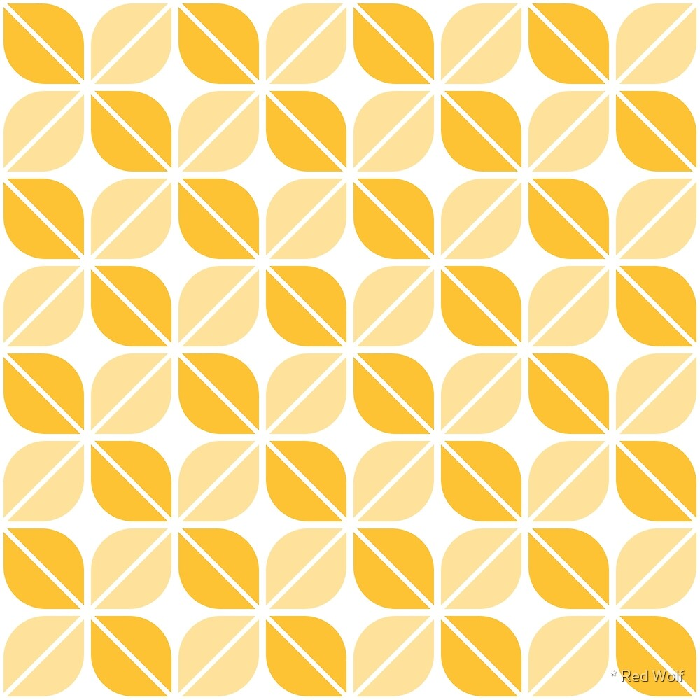 Geometric Pattern: Leaf: Yellow/White by * Red Wolf