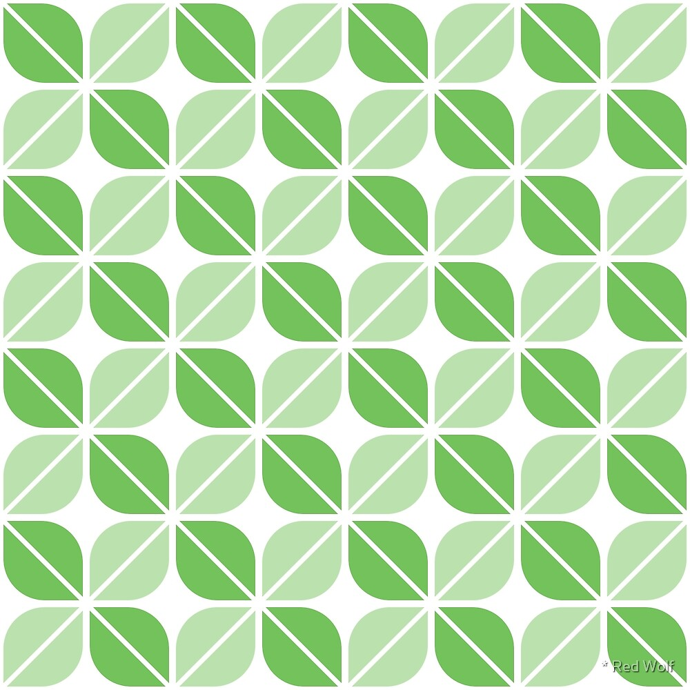 Geometric Pattern: Leaf: Green/White by * Red Wolf
