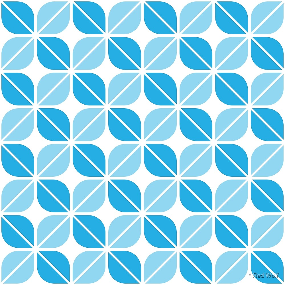Geometric Pattern: Leaf: Blue/White by * Red Wolf