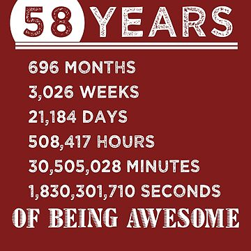 58th Birthday Gifts 58 Years Old of Being Awesome by FiftyStyle