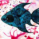 turquoise fish swim in pink water plant home of Java barb : House of hope Series  by See Foon