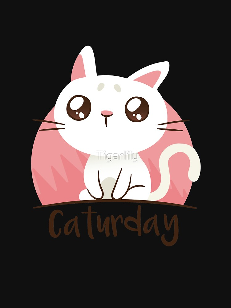 Caturday Cute Cat Graphic Tee Funny Cat Pun Punny Apparel and Gift by Tigarlily