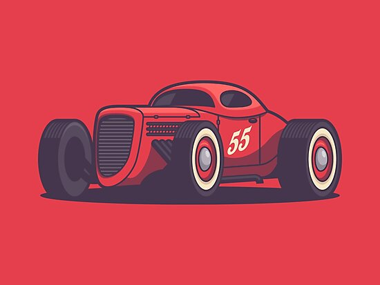 Vintage Hot Rod Classic Street Racer - Red by ivankrpan