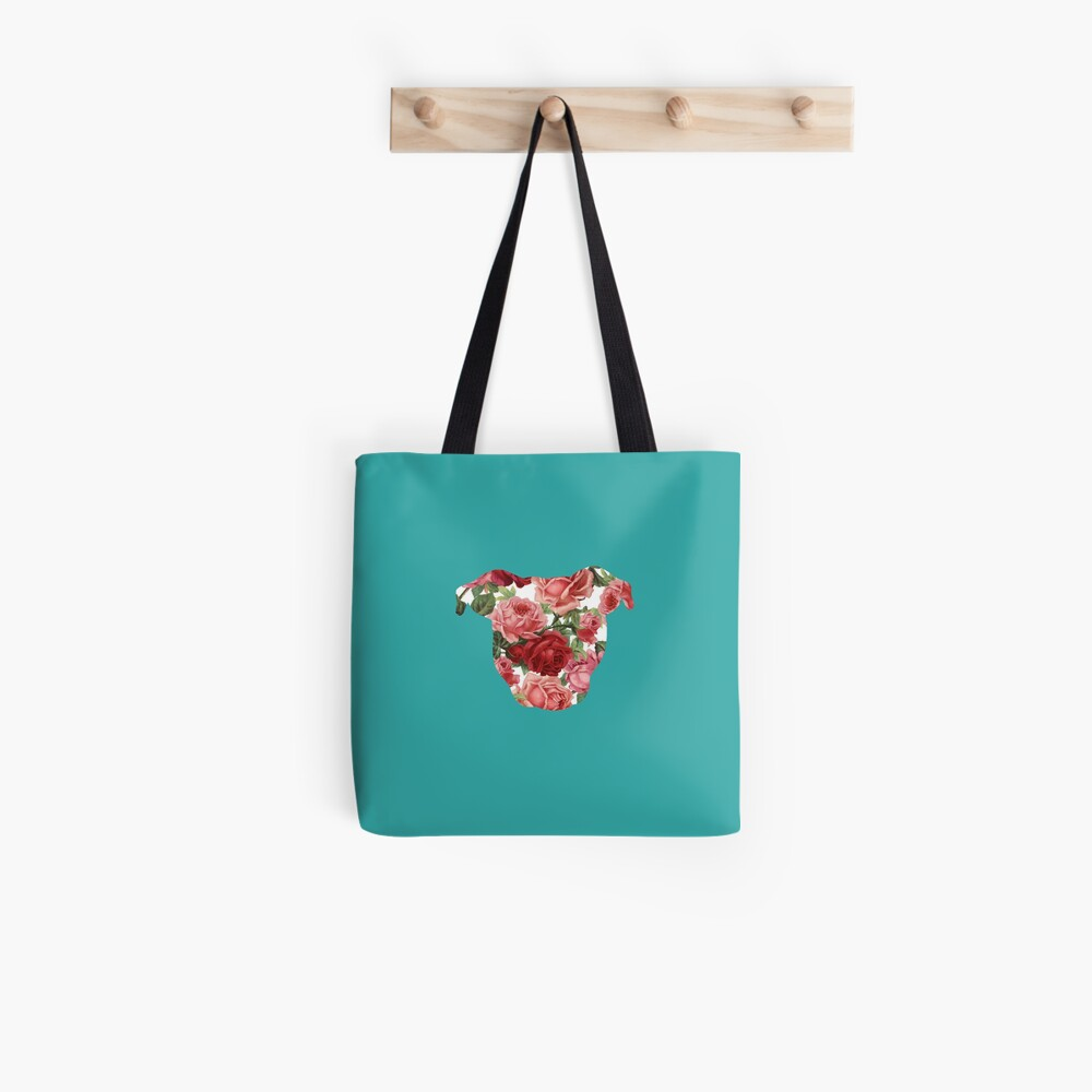 Floral Pittie Tote Bag