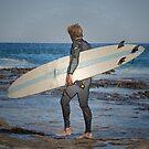 Surfer - Newcastle Beach NSW Australia by Bev Woodman