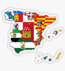 Spanish Autonomous Communities Flags Map, Spain Flagmap Transparent Sticker