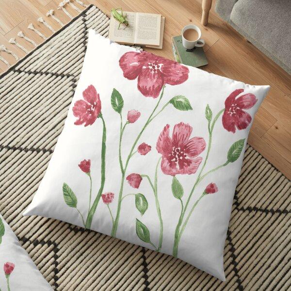 Watercolor flowers - soft red violet petals Floor Pillow