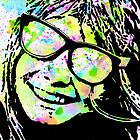 Stencil Mixed-Media Portrait | Stencil Art of a Groovy Girl by coloringiship