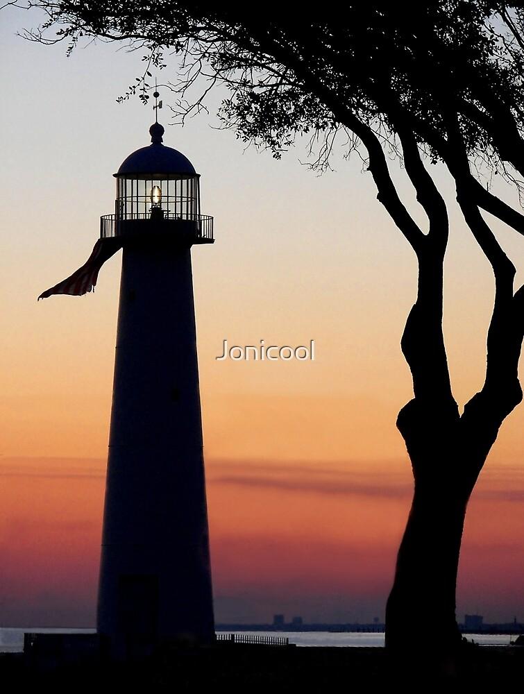 The Biloxi Lighthouse After Sunset By Jonicool Redbubble