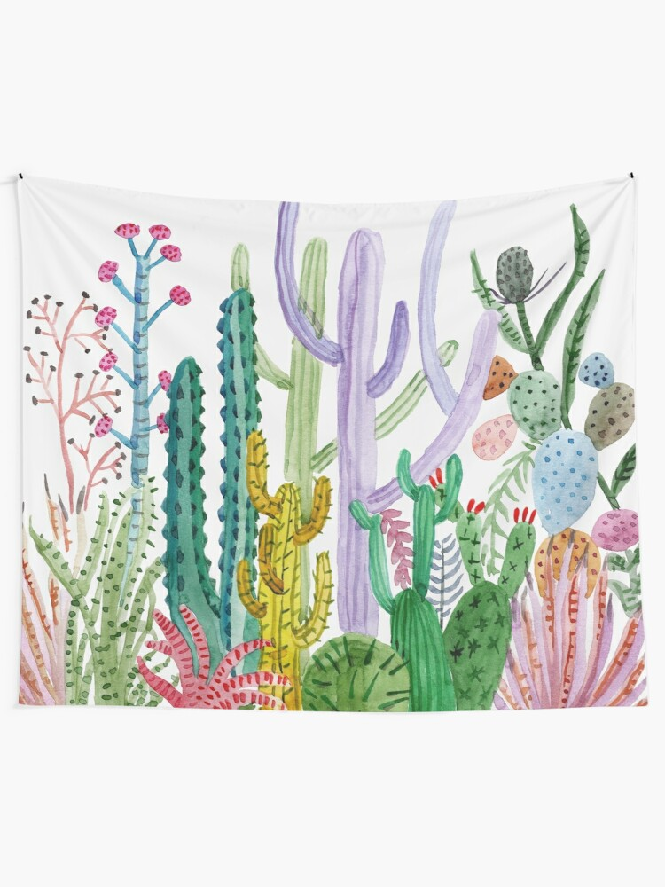 Alternate view of Watercolor Cacti Wall Tapestry