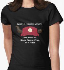 Camiseta entallada para mujer ¡Dominación mundial! El diablo es un temporizador de parte.