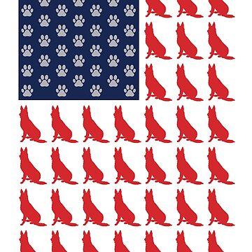 German Shepherd Paws American Flag Patriot by berryferro