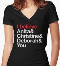 I believe Anita & Christine & Deborah & You. (Benefit for Scarleteen.com) Women's Fitted V-Neck T-Shirt