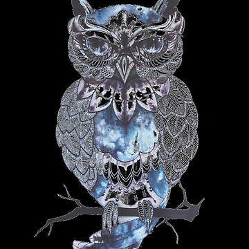 Owl Night Sky - Bird Of Prey Art Painting by PrintPress